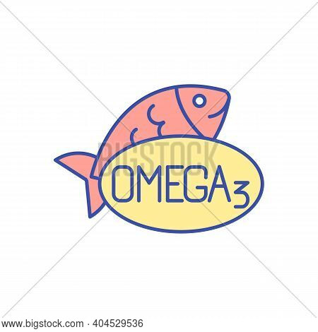 Omega 3 Vitamin Rgb Color Icon. Essential Fish Oil For Healthy Diet. Daily Intake Of Vitamin. Food S