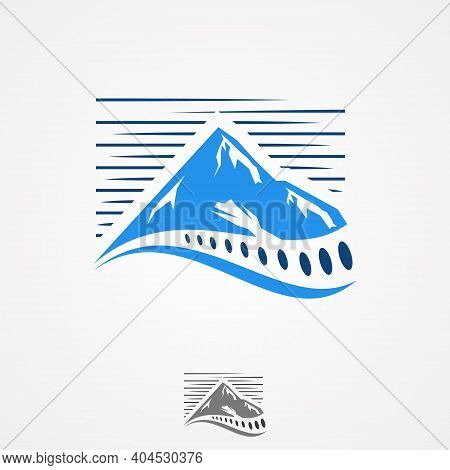 Illustration Design Spine Symbol Clinic Medicine Chiropractic With Mountain View. Orthopedic Symbol