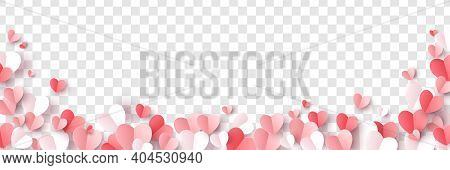 Red, Rose Pink And White Hearts Border Isolated On Transparent Background. Vector Illustration. Pape