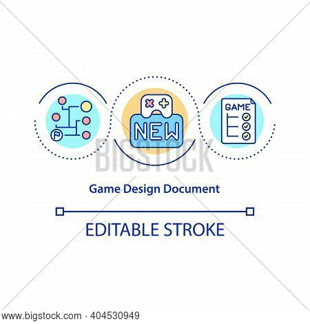 Game Design Document Concept Icon. Gdd Idea Thin Line Illustration. Game World And Characters Sketch