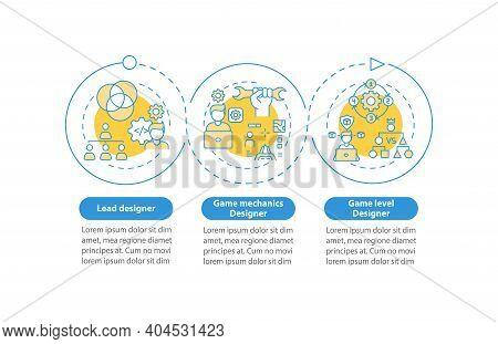 Game Designers Types Vector Infographic Template. Game Mechanics Designer Presentation Design Elemen
