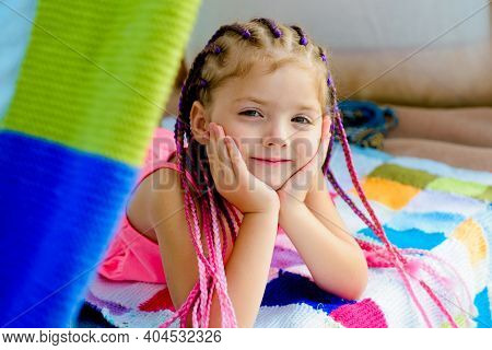 Smiling Kid In Tent. Girl Playing In Tent. Kids Camping. Having Fun Outdoors. Campground. Funny Face