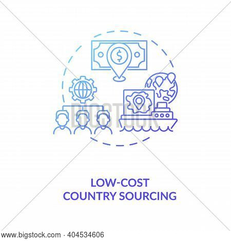 Low-cost Country Sourcing Concept Icon. Cost Reduction Strategy Idea Thin Line Illustration. Busines