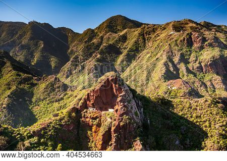 Houses Bult In Rock. Beautiful Mountain Landscape On Tropical Island Tenerife, Canary In Spain. Anag