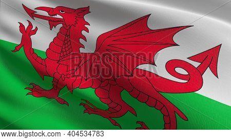 Flag Of Wales Or Welsh. 3D Rendering Illustration Of Waving Sign Symbol.