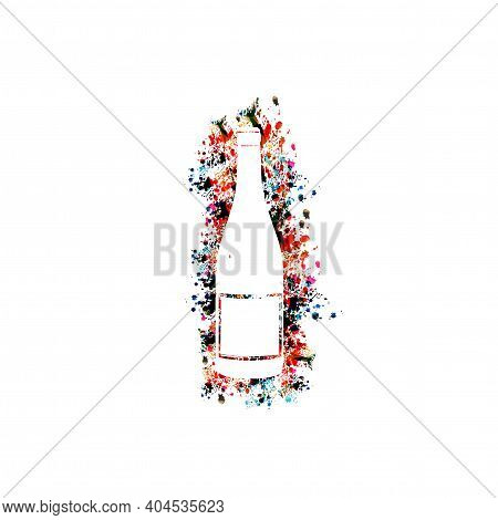 Colorful And Simple Glass Bottle Isolated Vector Illustration. Party Flyer, Wine Festival, Wine Tast