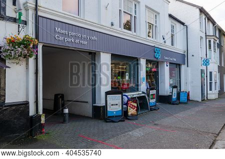 Bala; Uk: Sep 20, 2020: The Coop Supermarket On The High Street Of Bala With Outdoor Signage Giving