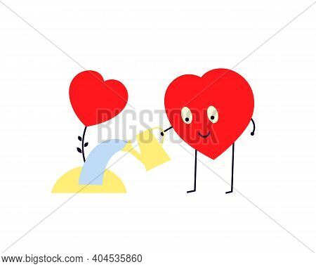 Care About Each Other, Support, Understand, Grow Love. Be Happy Together. Red Smiling Heart Watering