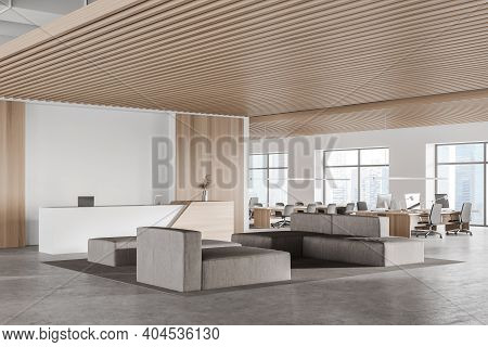 Corner Of Modern Office Waiting Room With White And Wooden Walls, Concrete Floor, Gray Sofas And Rec