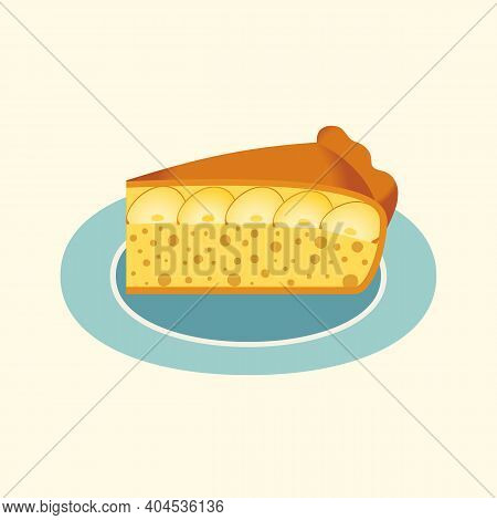 Homemade Apple Pie Slice On Plate Flat Vector Icon. Sweet Dessert Food Cute Cartoon Design Element.