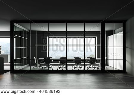 Interior Of Minimalistic Office Meeting Room With Gray Walls, Concrete Floor, Long Conference Table