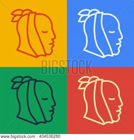 Pop Art Line Toothache Icon Isolated On Color Background. Vector