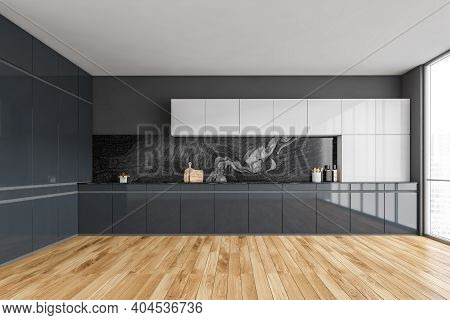 Black And Wooden Empty Kitchen Set With Window And Parquet Floor. Modern Luxury Black And White Kitc