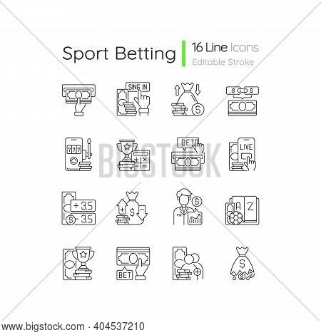 Sports Betting Linear Icons Set. Cashing Out Option. Financial Award. Mobile Casino. In-game Betting