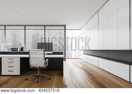 White Office Room With White Chair, Computer On White Table, Modern Minimalist Business Office Manag