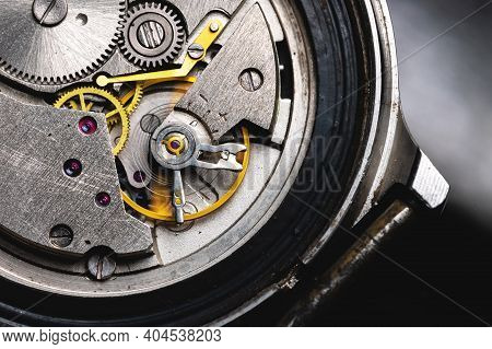 Opened Mechanism Of Mechanical Old Wrist Watch Close Up