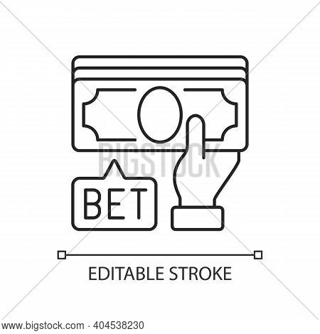 Placing Bet Linear Icon. Gambling Act. Betting Money On Sport Events. Making Wager On Outcome. Thin