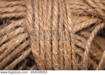 Natural Jute Twine Macro Photography. Jute Thread Texture. A Coil Of Jute Rope.