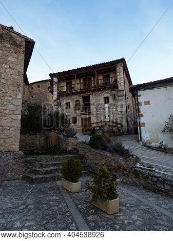 Street View Of Idyllic Remote Rural Countryside Town Village Orbaneja Del Castillo Burgos Castile An
