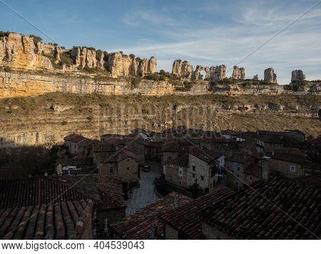 Idyllic Remote Rural Village Orbaneja Del Castillo Karst Rock Formation Ebro River Valley Burgos Cas