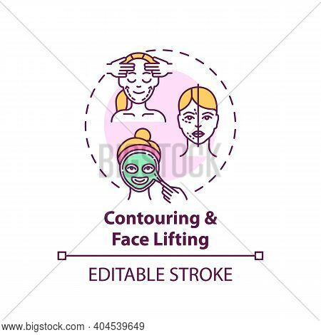 Contouring And Face Lifting Concept Icon. Face Mask Idea Thin Line Illustration. Facial Rejuvenation