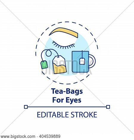 Tea-bags For Eyes Concept Icon. At-home Face Care Procedure Idea Thin Line Illustration. Decreasing