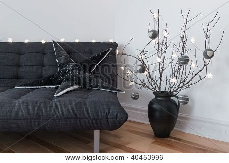 Gray Sofa, Winter Decorations And Cozy Lights