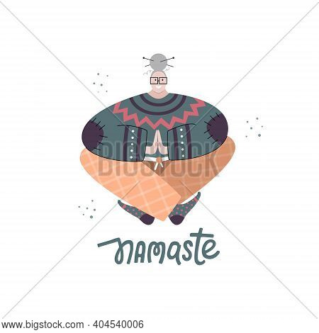 Elder Female With Grey Hair Practicing Gentle Yoga At Home. Cosy Flat Vector Illustration Of A Grann