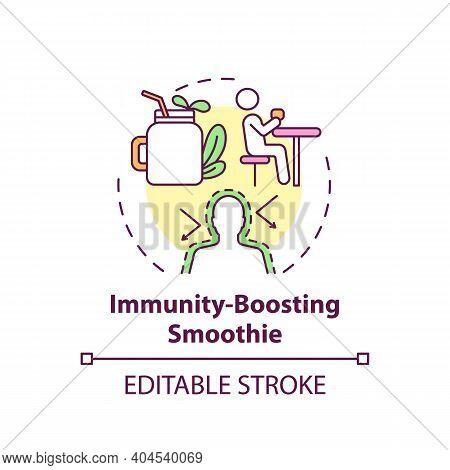 Immunity-boosting Smoothie Concept Icon. Home Beauty Treatment Idea Thin Line Illustration. Nourishi