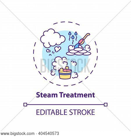 Steam Treatment Concept Icon. Home Spa Procedure Idea Thin Line Illustration. Blood Circulation Prom
