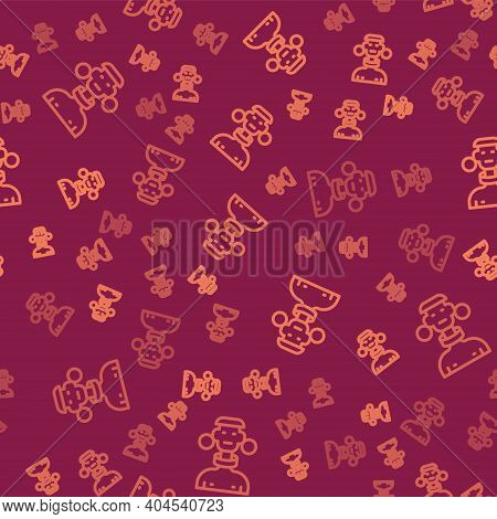 Brown Line African Tribe Male Icon Isolated Seamless Pattern On Red Background. Vector