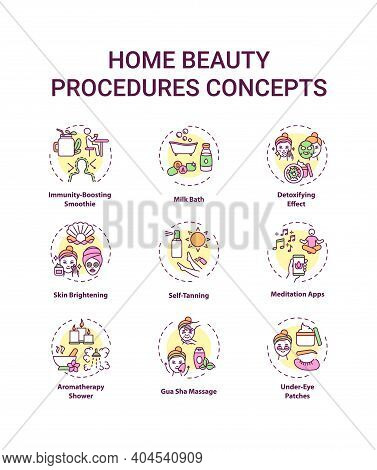 Home Beauty Procedures Concept Icons Set. At-home Spa Activities Idea Thin Line Rgb Color Illustrati