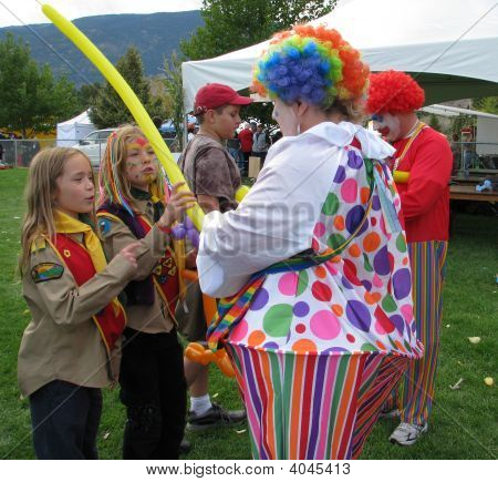 Balloons, Kids And Clowns
