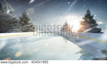 Skating Rink In The Mountains. Outdoor Recreation. Sunset In The Mountains. 3d Rendering. Spruce Tre