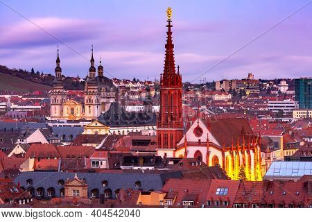 Aerial Night View Of Old Town With Maria Chapel In Wurzburg, Franconia, Bavaria, Germany