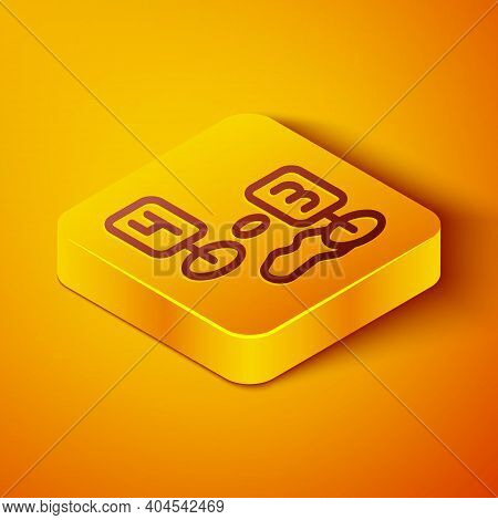 Isometric Line Marker Of Crime Scene Icon Isolated On Orange Background. Yellow Square Button. Vecto
