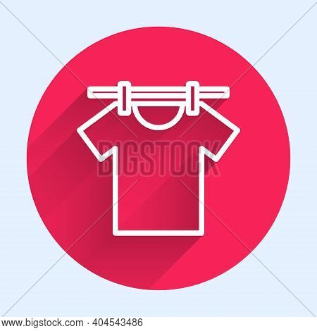 White Line Drying Clothes Icon Isolated With Long Shadow. Clean Shirt. Wash Clothes On A Rope With C