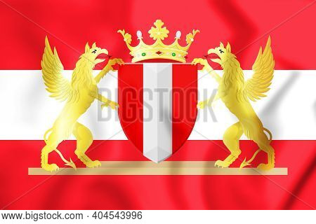 3d Flag Of Dordrecht (south Holland Province), Netherlands. 3d Illustration.