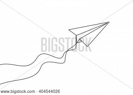 Paper Plane Continuous One Line Drawing. Paper Airplane Of One Line Art Style. Vector Illustration.
