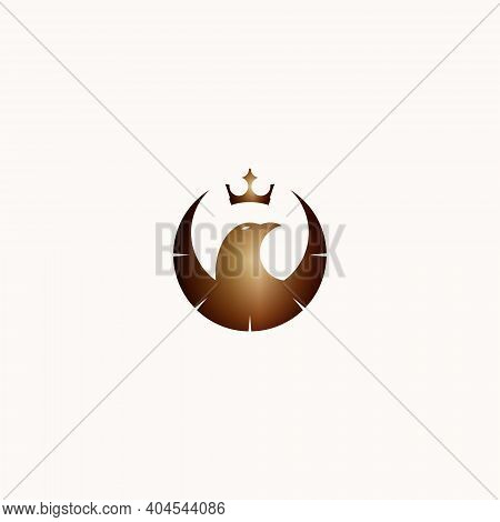 Eagle Bird Vector Illustration And Golden Crown For Icon, Symbol Or Logo. Eagle Template Logo. Great