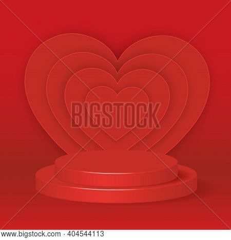 Poduim 3d Rendering Abstract Geometric Shape Red Color.backdrop  For Cosmetic Product Display. Fashi