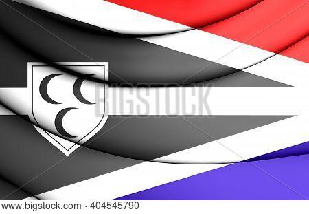 3d Flag Of Krimpen Aan Den Ijssel (south Holland Province), Netherlands. 3d Illustration.