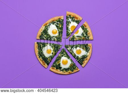 Slices Of Pizza With Spinach, Eggs And Mozzarella, Isolated On Purple Background. Sliced Vegetarian