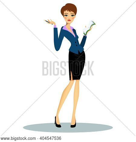 Cartoon Female Professional Secretary Or Business Planner Wearing Formal Clothes While Taking Notes