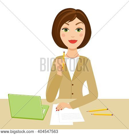 Office Secretary With Notebook And Pencil On Her Hand, Vector Eps10 Illustration