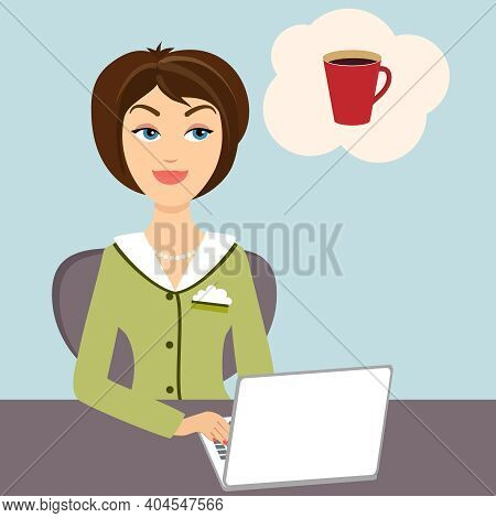 Vector Illustration Of An Attractive Young Secretary Sitting At Her Desk Working On A Laptop Compute