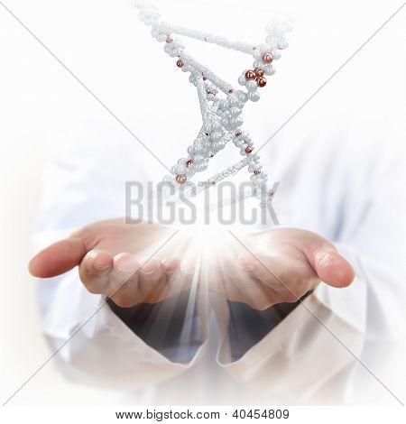 Image of DNA strand against background with human hands poster