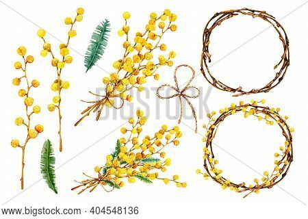 Spring Bouquet Of Yellow Mimosa Flowers, A Round Wreath Of Twigs. Hand Drawn Watercolor Illustration
