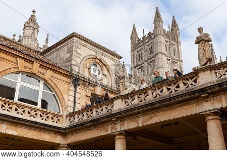 Bath, United Kingdom - November 2, 2017: Tourists Visit The Roman Baths Of Bath, Somerset, One Of Th