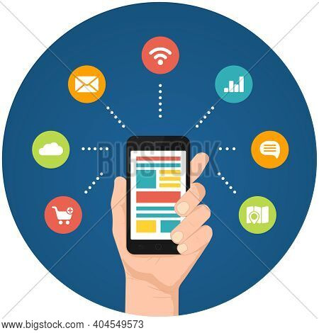 Smartphone Apps Infographics With A Hand Holding A Phone With Linked Circular Icons For Shopping  Cl